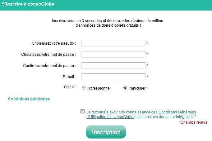 Inscription rapide pour un compte anonyme