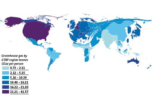 Morphing géographique des emissions de C02
