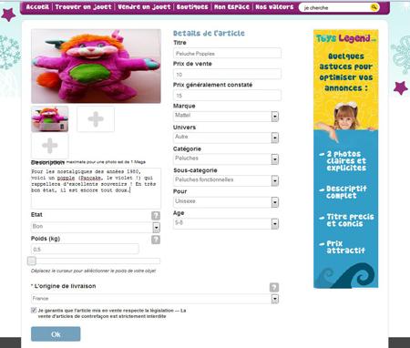 Descriptif du jouet à vendre